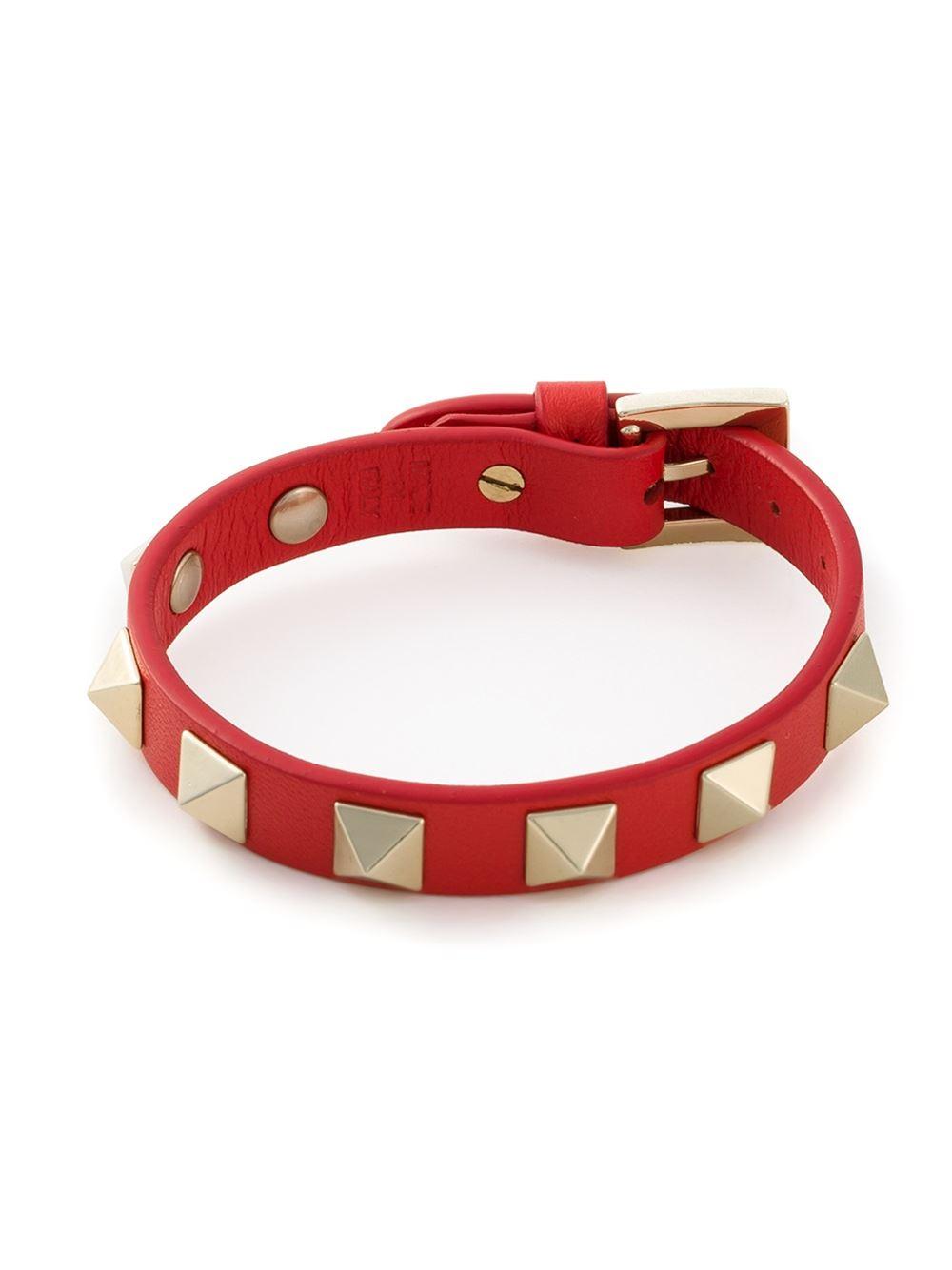 Lyst Valentino Rockstud Bracelet In Red