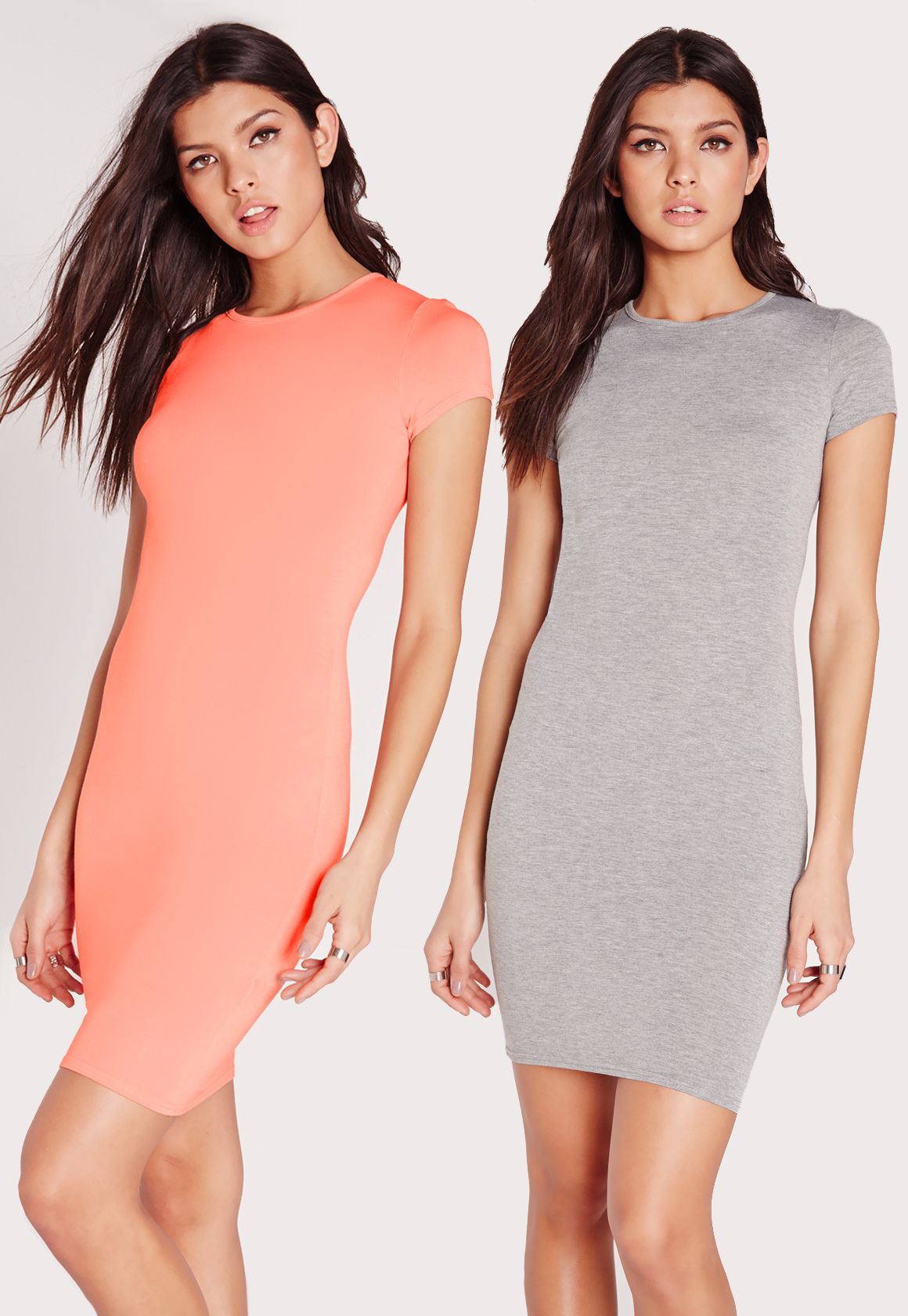 1b1313ad8b Lyst - Missguided 2 Pack Jersey Short Sleeve Bodycon Dress Pink grey ...