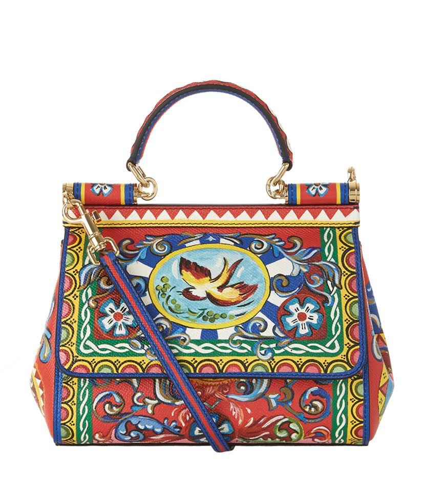88e23e6aa5 Dolce   Gabbana Carretto Print Mini Sicily Top Handle Bag - Lyst