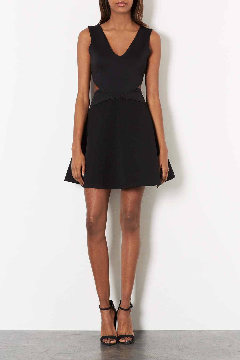 Lyst Topshop Cut Out Skater Dress In Black