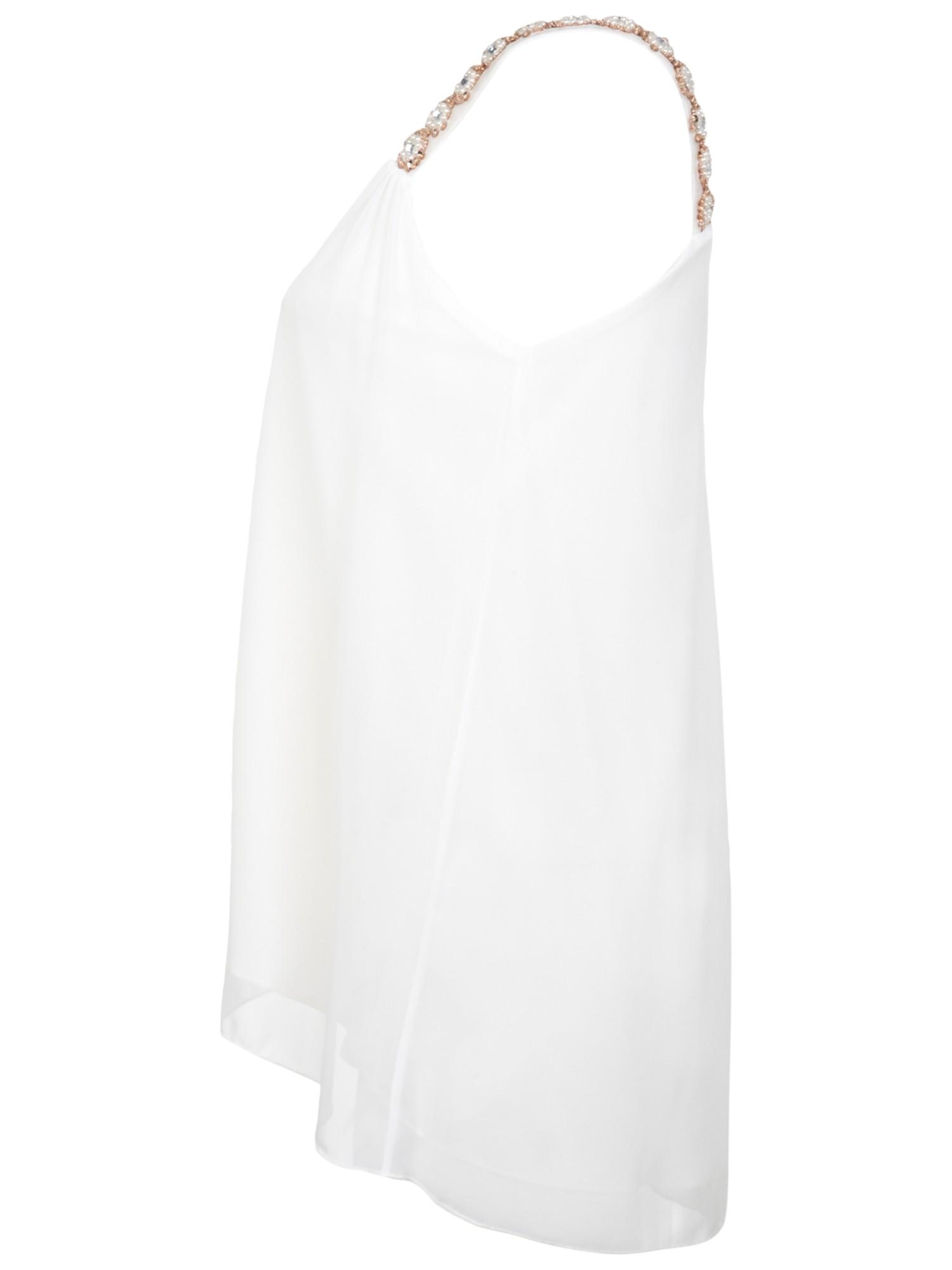 4219bcda541cf Miss Selfridge Embellished Strap Cami Top in Natural - Lyst