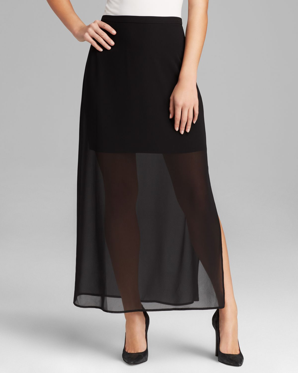 vince camuto semi sheer overlay maxi skirt in black lyst