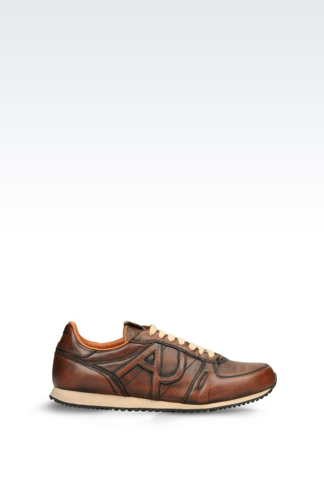 armani jeans sneaker in leather with logo in brown for men lyst. Black Bedroom Furniture Sets. Home Design Ideas