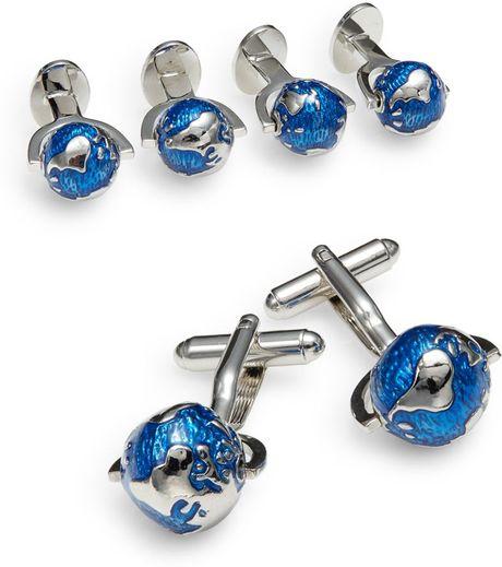 Saks Fifth Avenue Enameled Spinning Globe Cuff Link & Stud Set in Blue ...