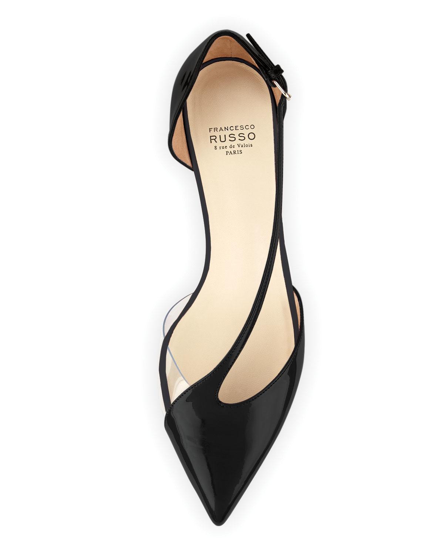 ec0128636d46d Lyst - Francesco Russo Diagonal-strap Kitten-heel Pump in Black