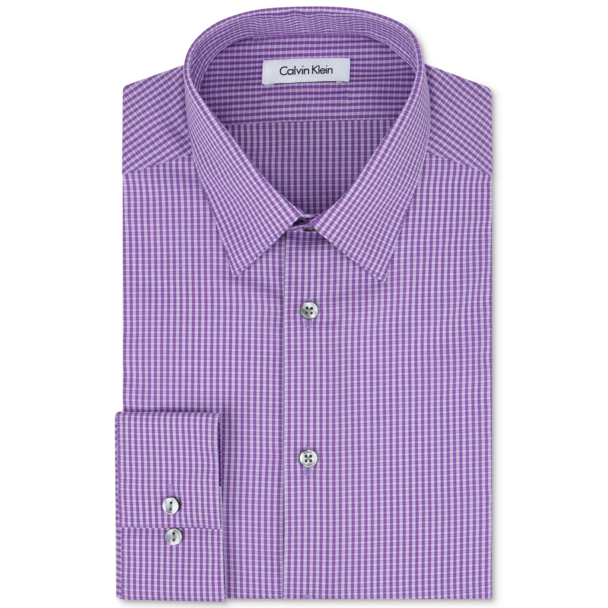 Calvin klein steel slim fit non iron purple check dress for No iron slim fit dress shirts