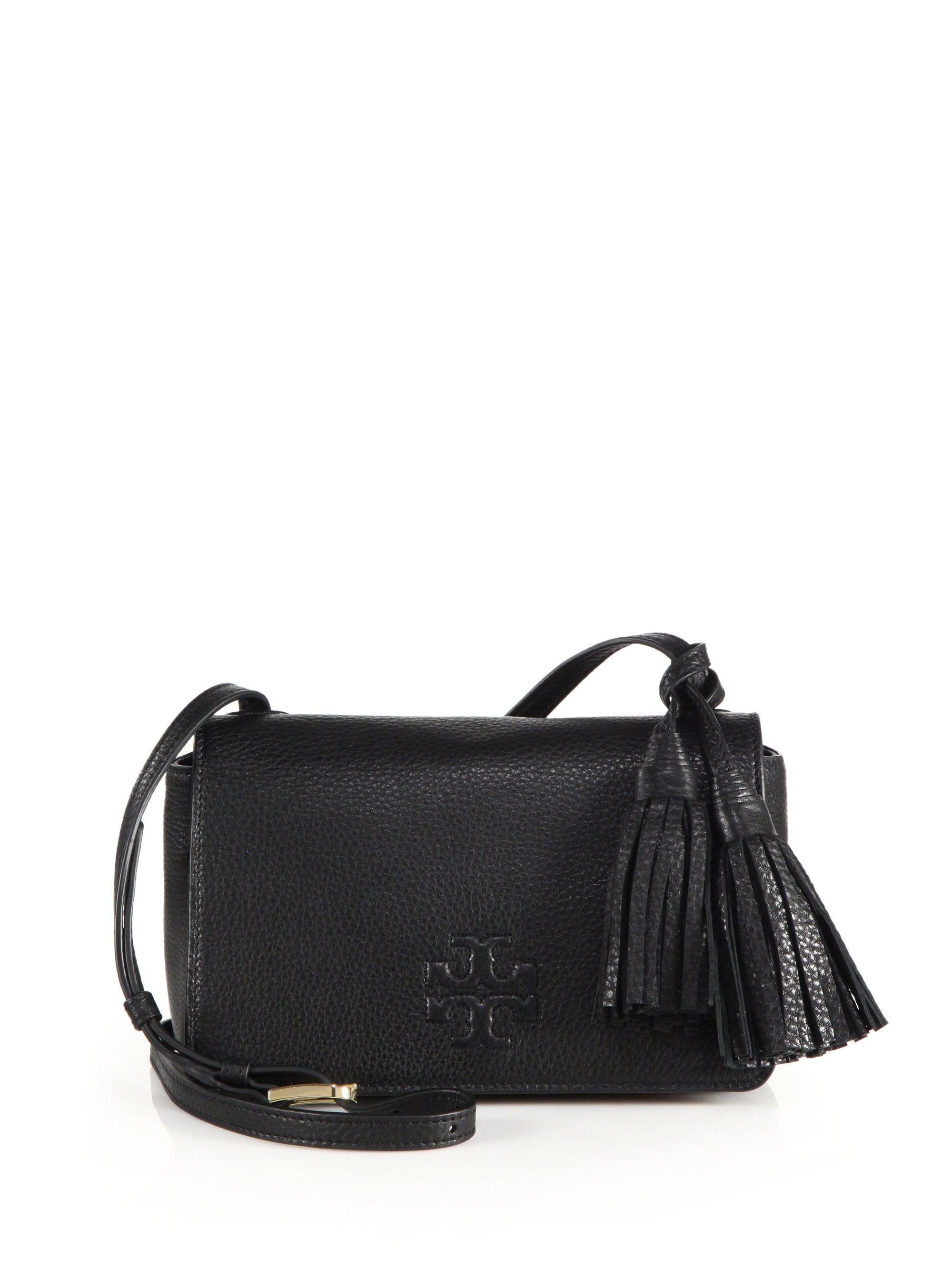 44ccf0051b5 Lyst - Tory Burch Thea Mini Leather Tassel Crossbody Bag in Black