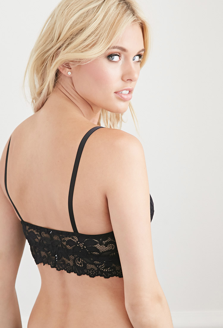 da32458028e4d Forever 21 Black Floral embroidered Lace Push up Bra Lyst