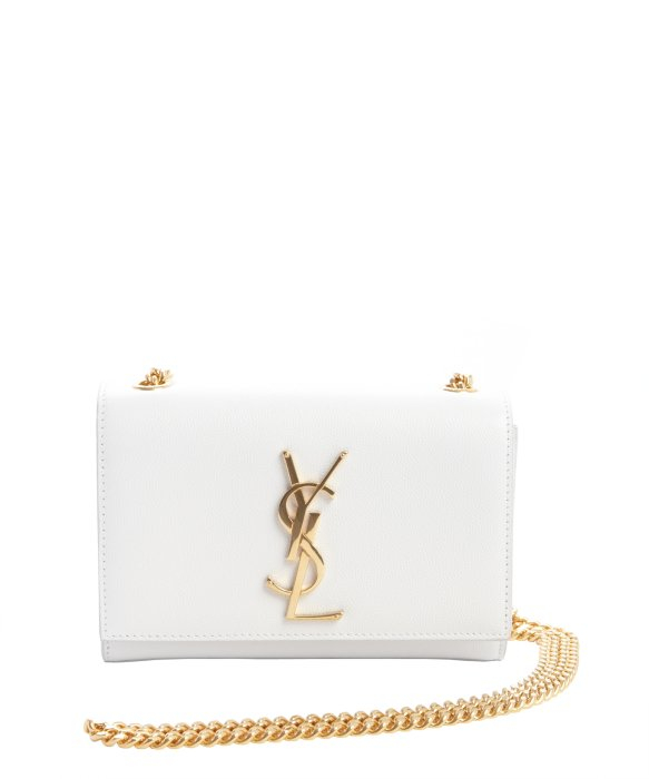 Saint laurent White Leather Ysl Chain Shoulder Bag in White | Lyst