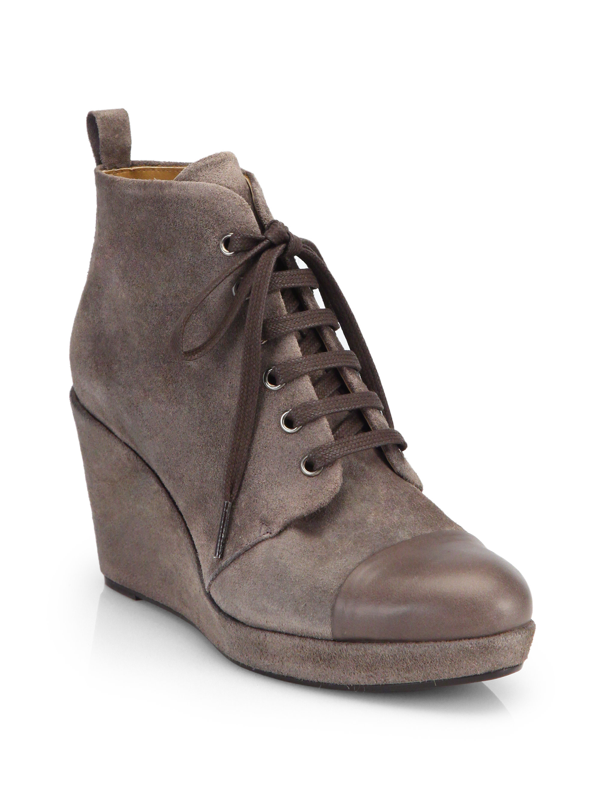 coclico henri suede lace up wedge ankle boots in brown