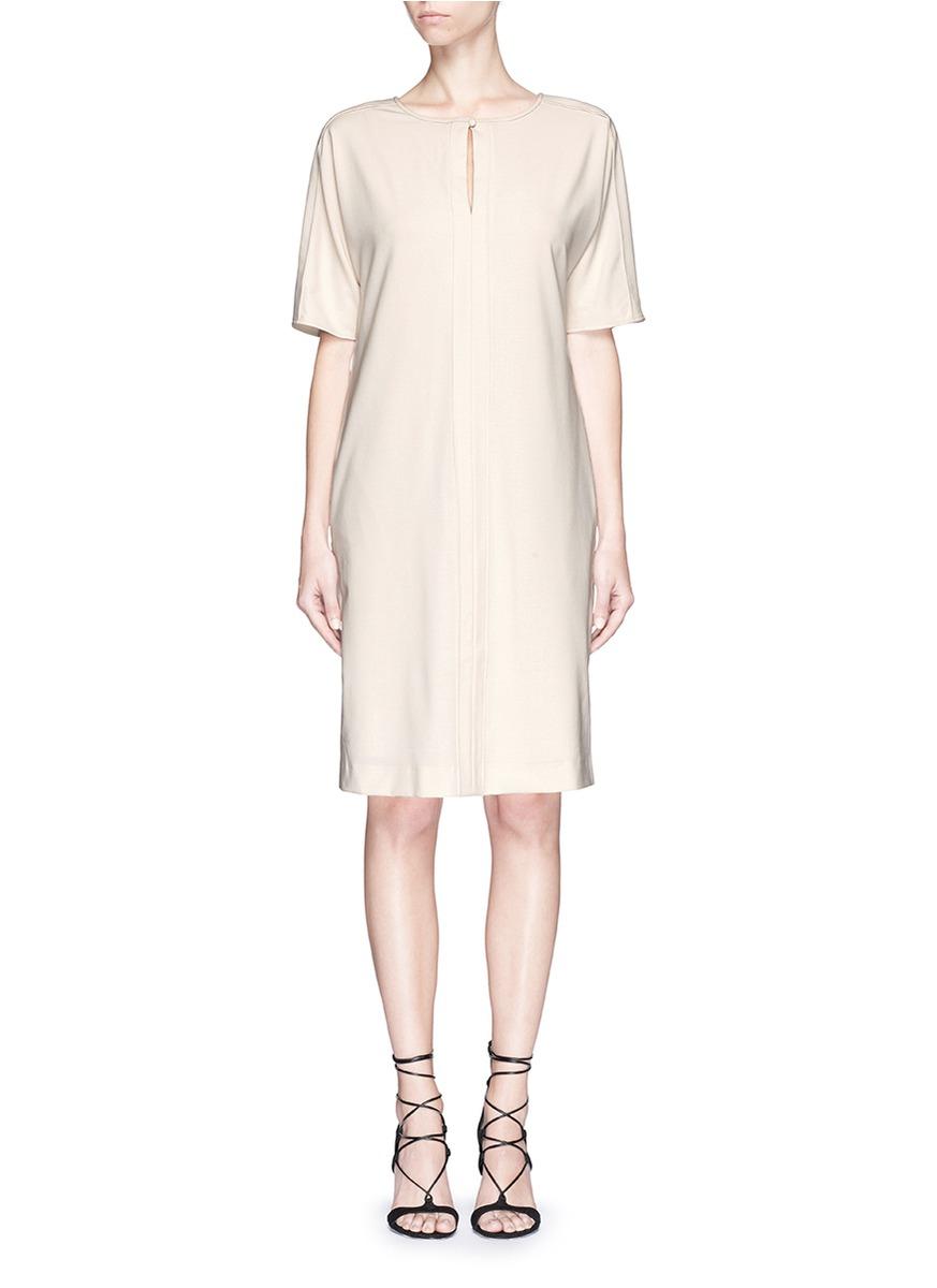 armani leather belt wool shift dress in lyst