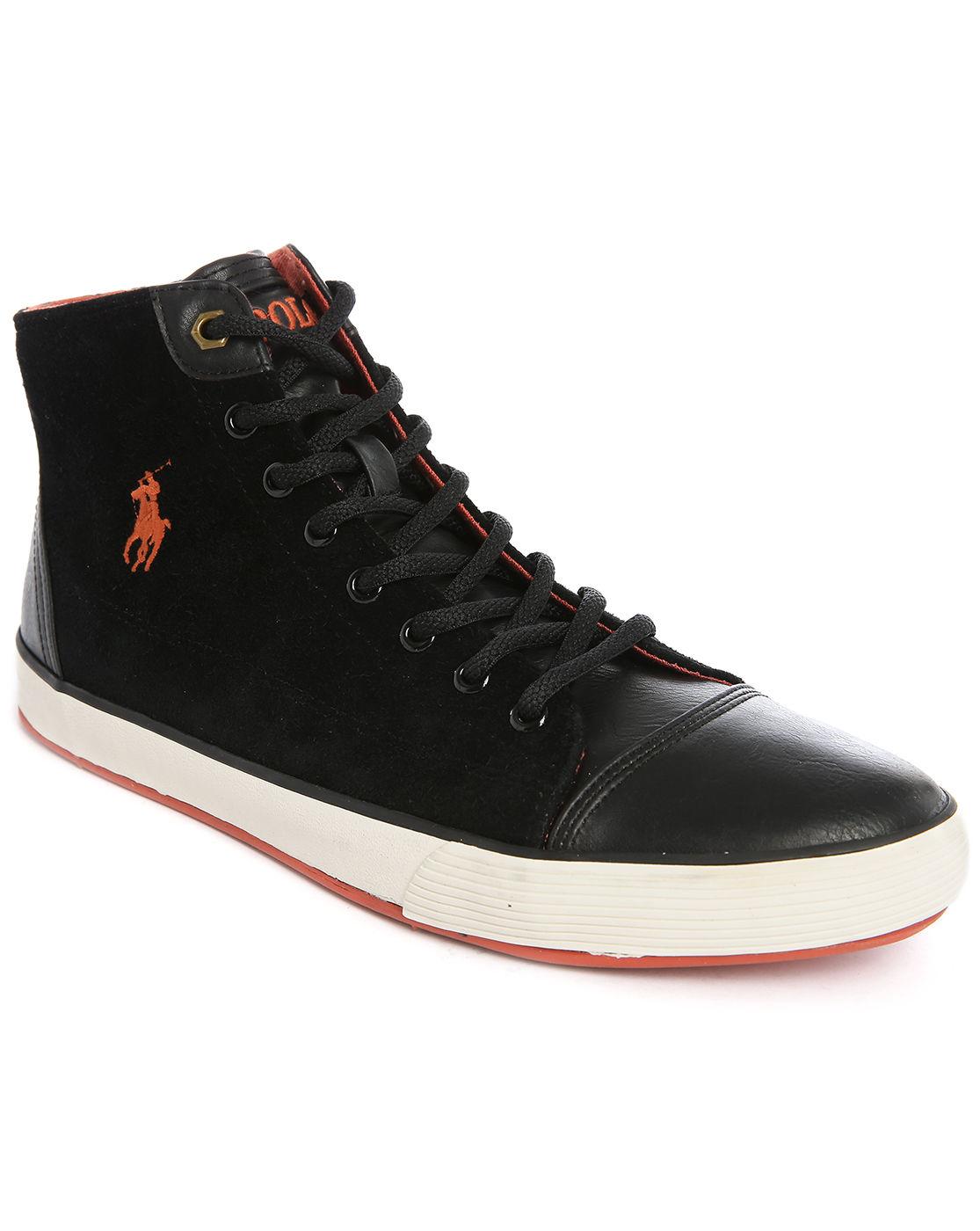 polo ralph kelsey hi black suede sneakers in black
