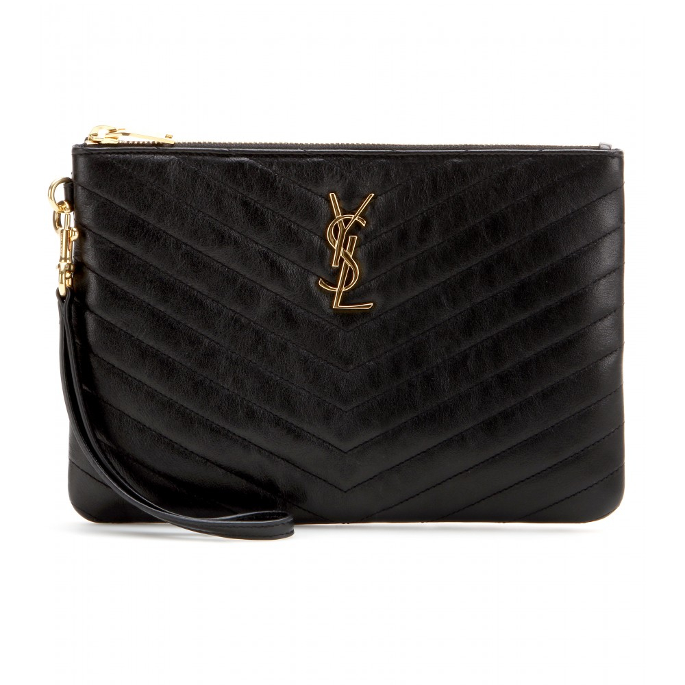 Lyst Saint Laurent Monogramme Quilted Leather Clutch In