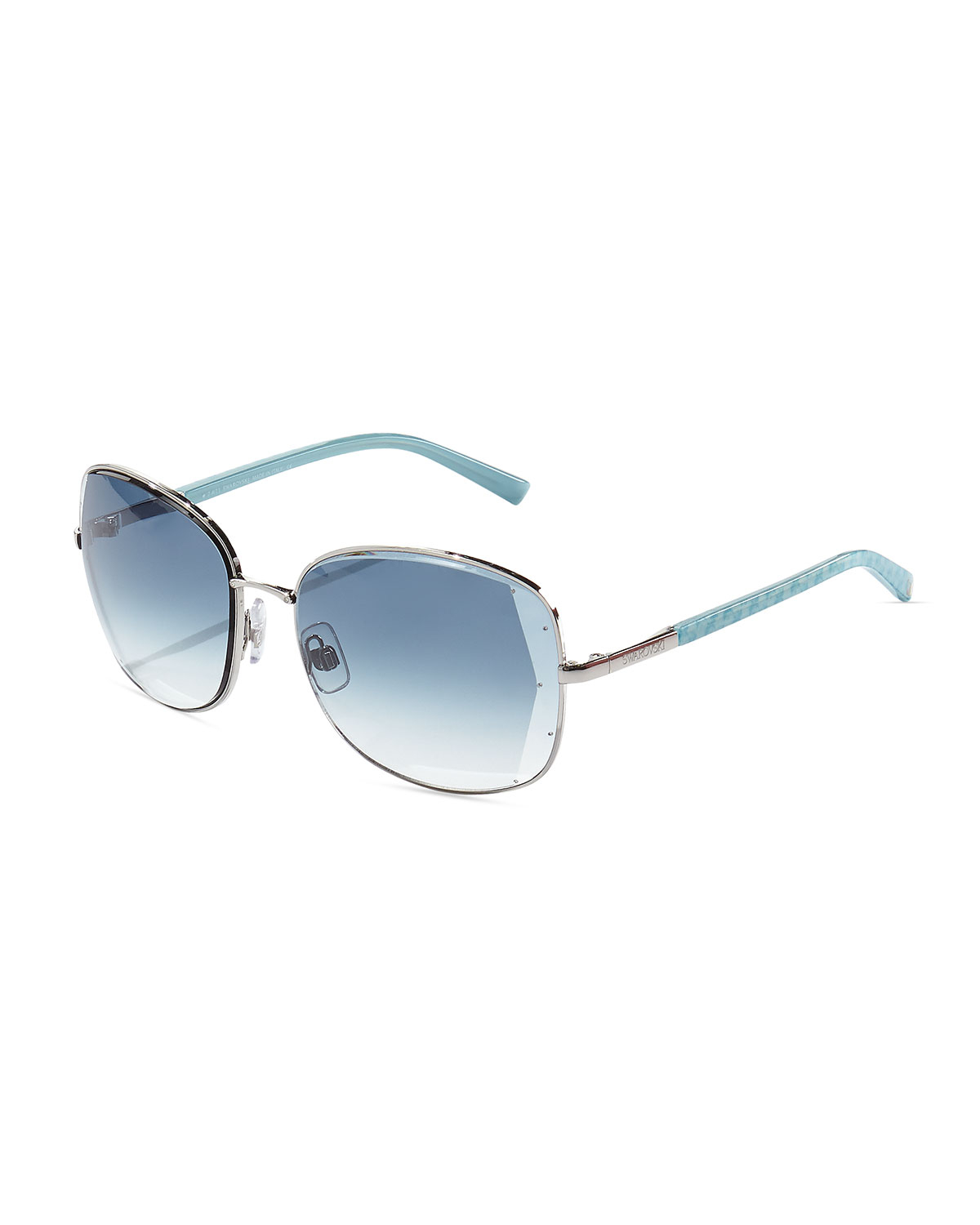 swarovski beveledlenses square sunglasses in blue for men