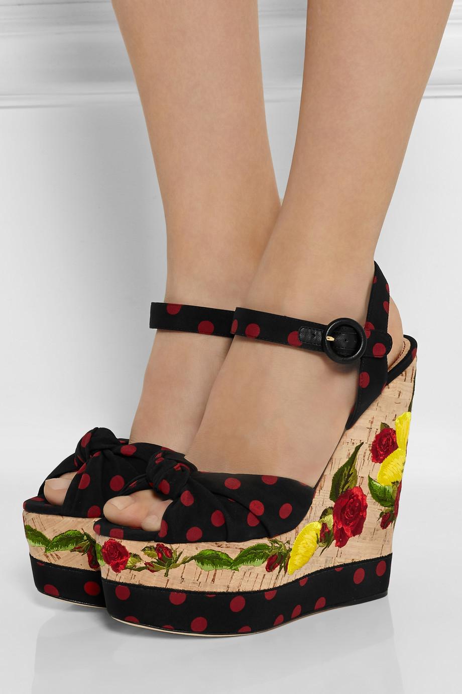 Dolce Amp Gabbana Polka Dot Canvas And Embroidered Cork