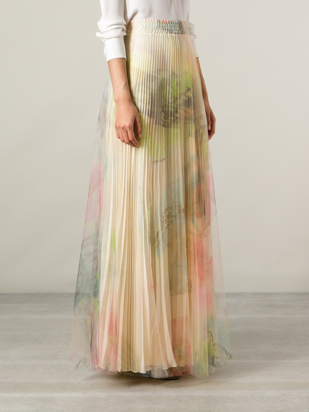 Blumarine Pleated Maxi Skirt in Natural | Lyst