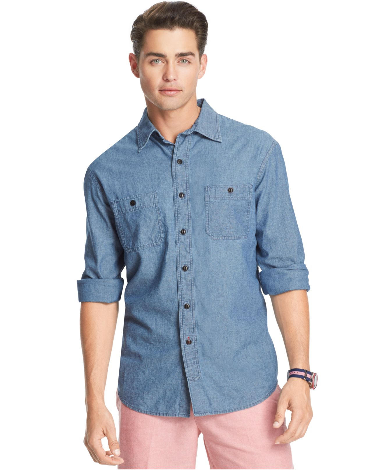 Izod long sleeve chambray shirt in blue for men lyst for Chambray long sleeve shirt