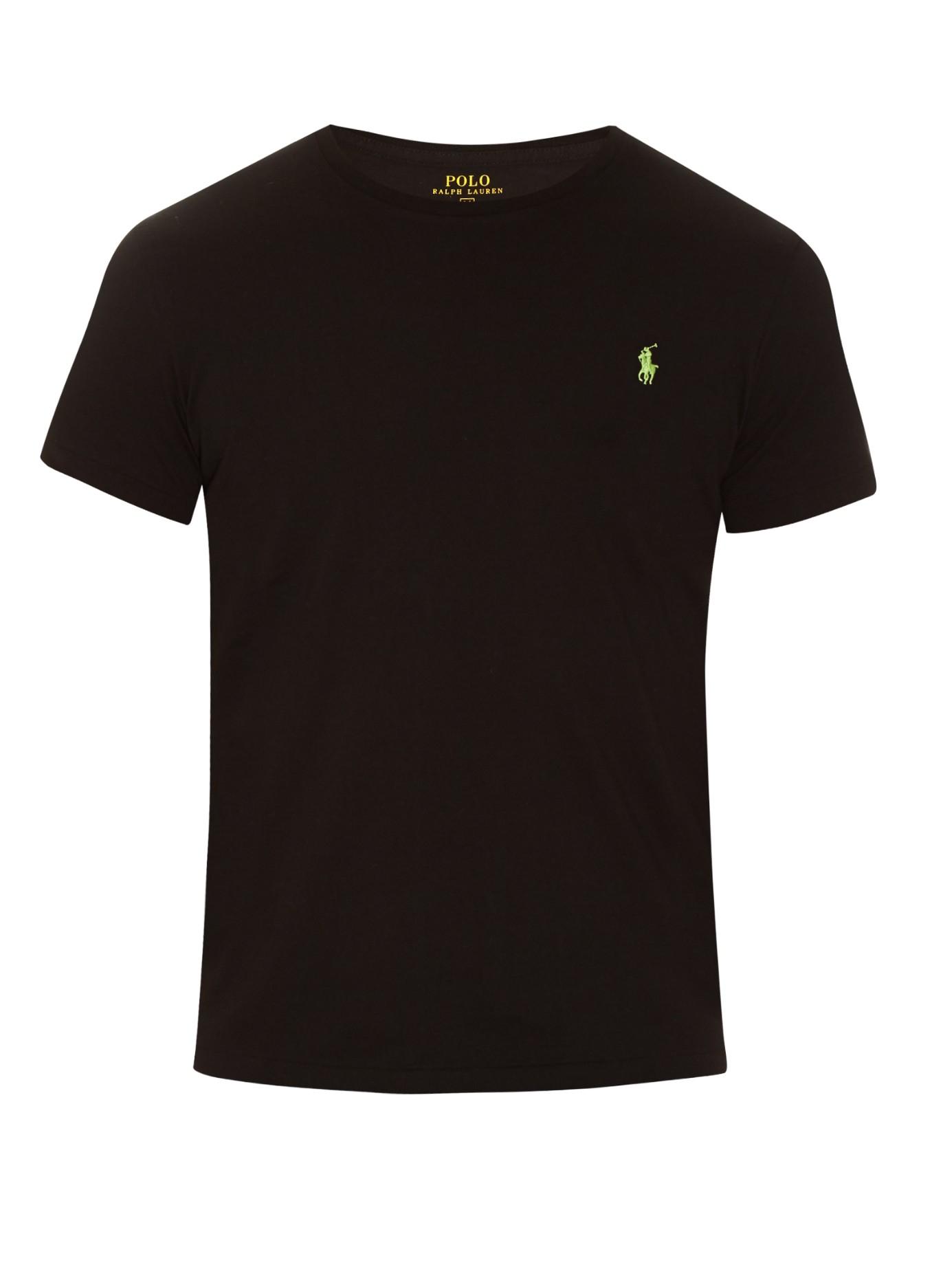 polo ralph lauren crew neck cotton t shirt in black for. Black Bedroom Furniture Sets. Home Design Ideas