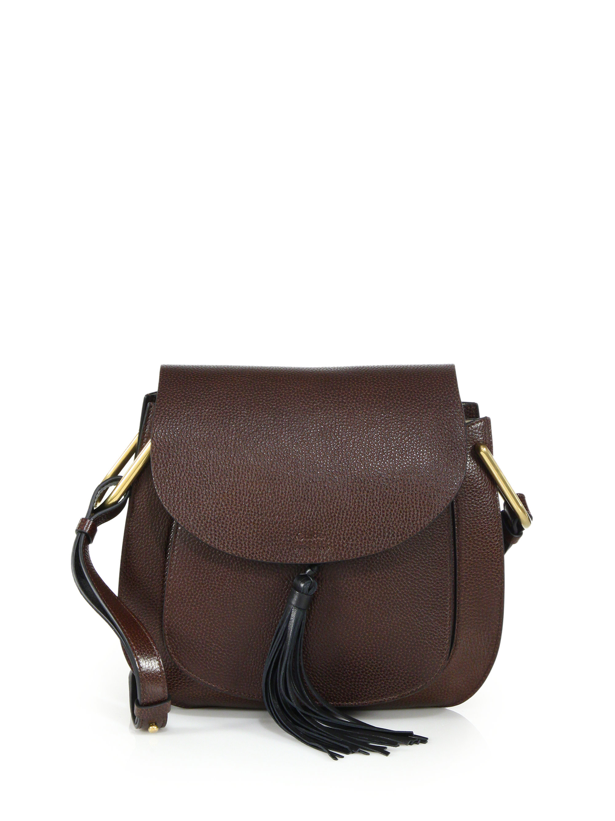 Chlo�� Hudson Medium Tasseled Leather Crossbody Bag in Brown (dark ...