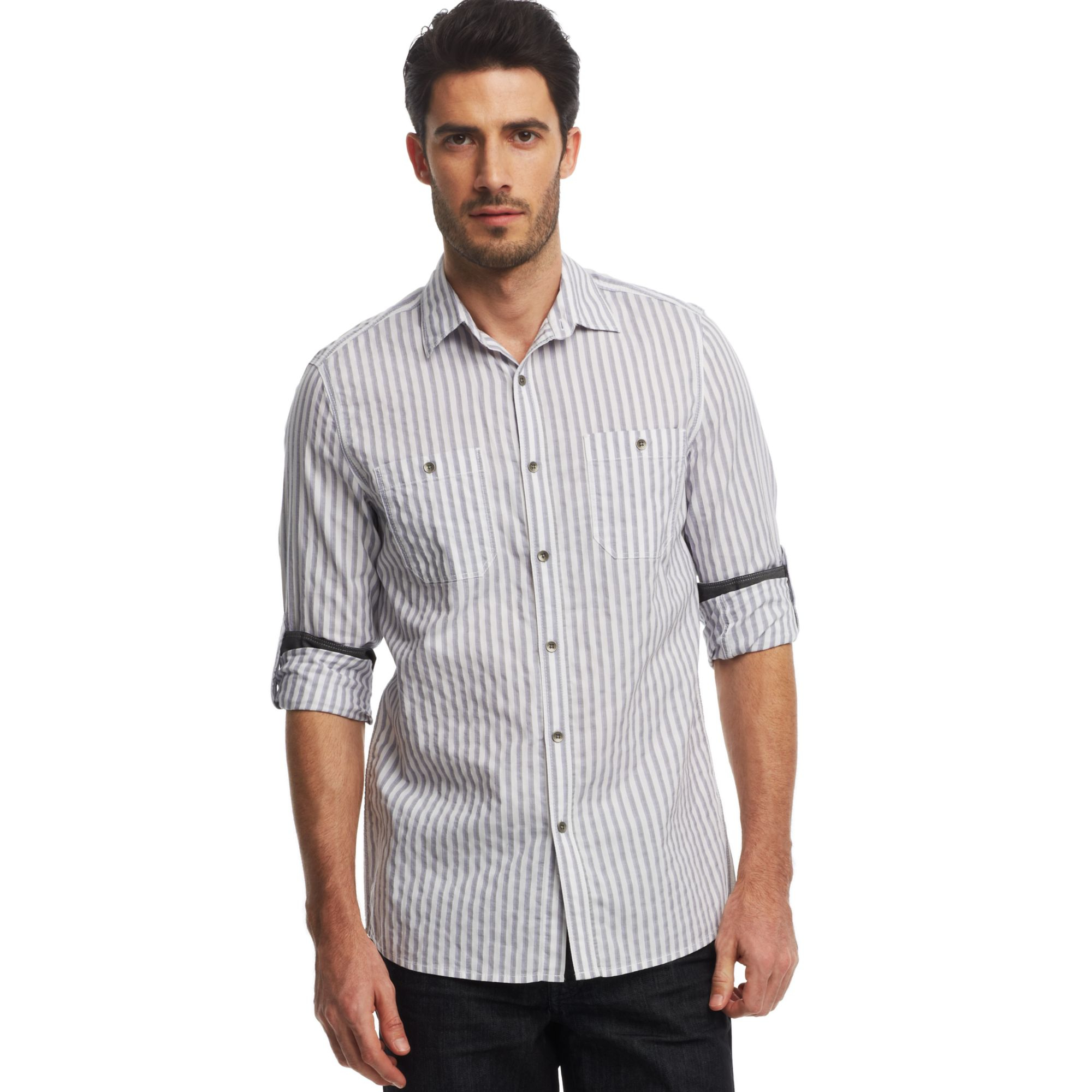 Kenneth cole reaction striped roll tab sleeve shirt in for Men s roll tab sleeve shirts