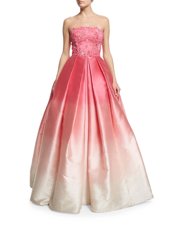 Naeem Khan Ombre Silk-Faille Ball Gown in Pink - Lyst