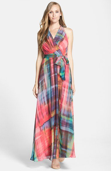 chetta b print chiffon maxi dress in red | lyst