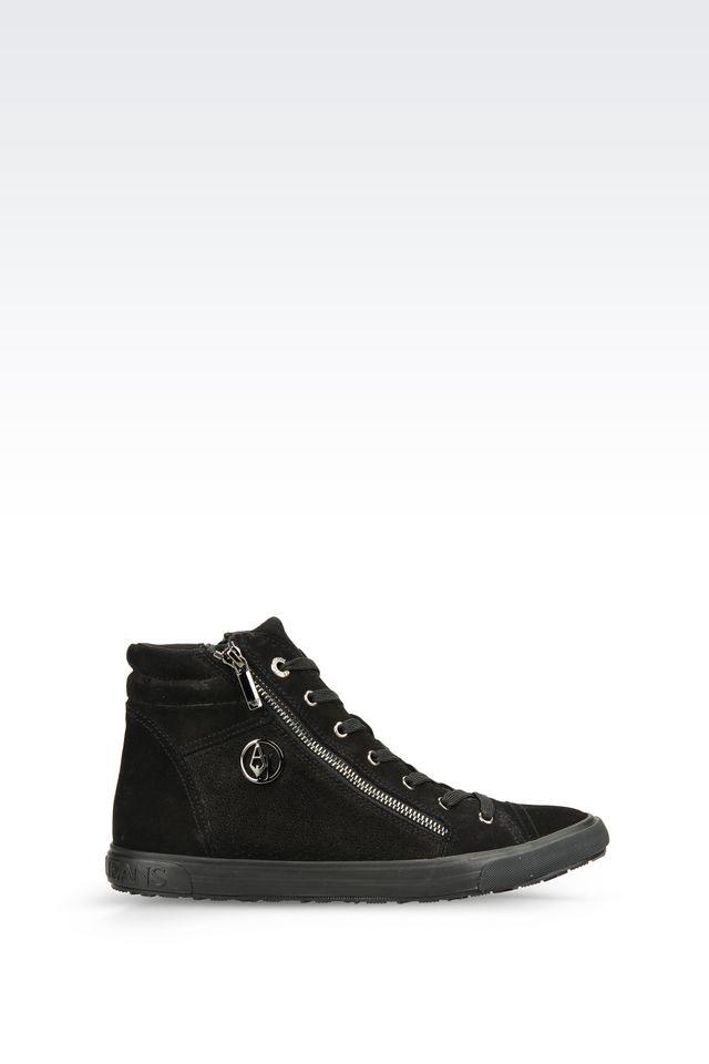 armani jeans high top sneaker in black lyst. Black Bedroom Furniture Sets. Home Design Ideas
