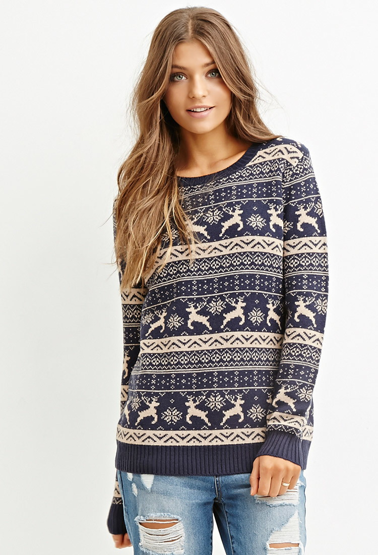 Forever 21 Fair Isle Reindeer Sweater in Blue | Lyst