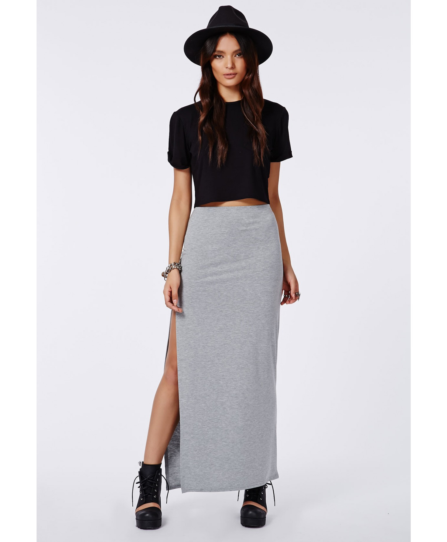 Missguided Jenna Split Maxi Skirt In Grey in Gray | Lyst
