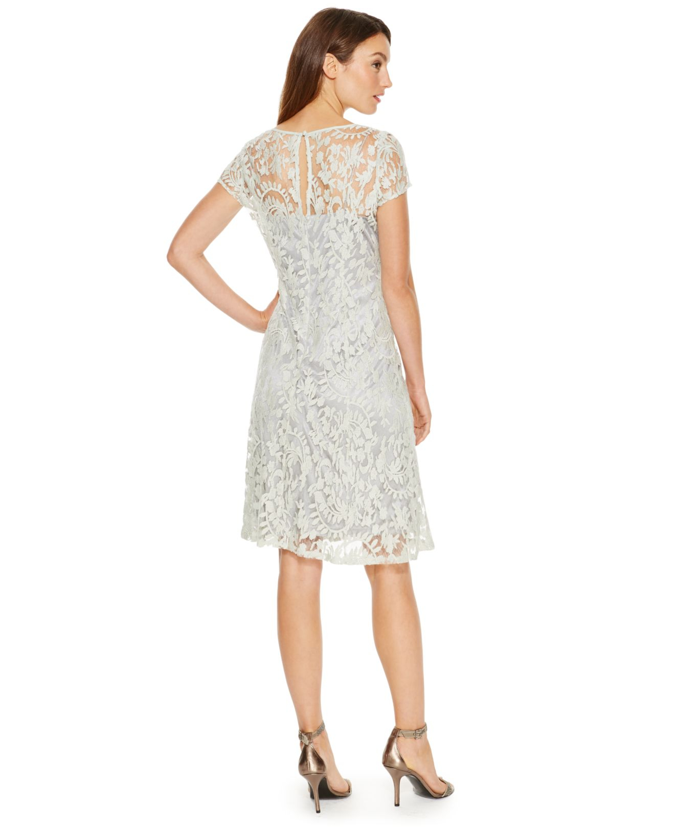 Lyst - Adrianna Papell Illusion-lace Cap-sleeve Dress in Green