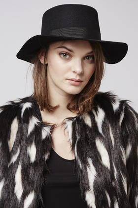 Topshop Flat Brim Boater Hat in Black - Lyst 4cca9cd5ce0