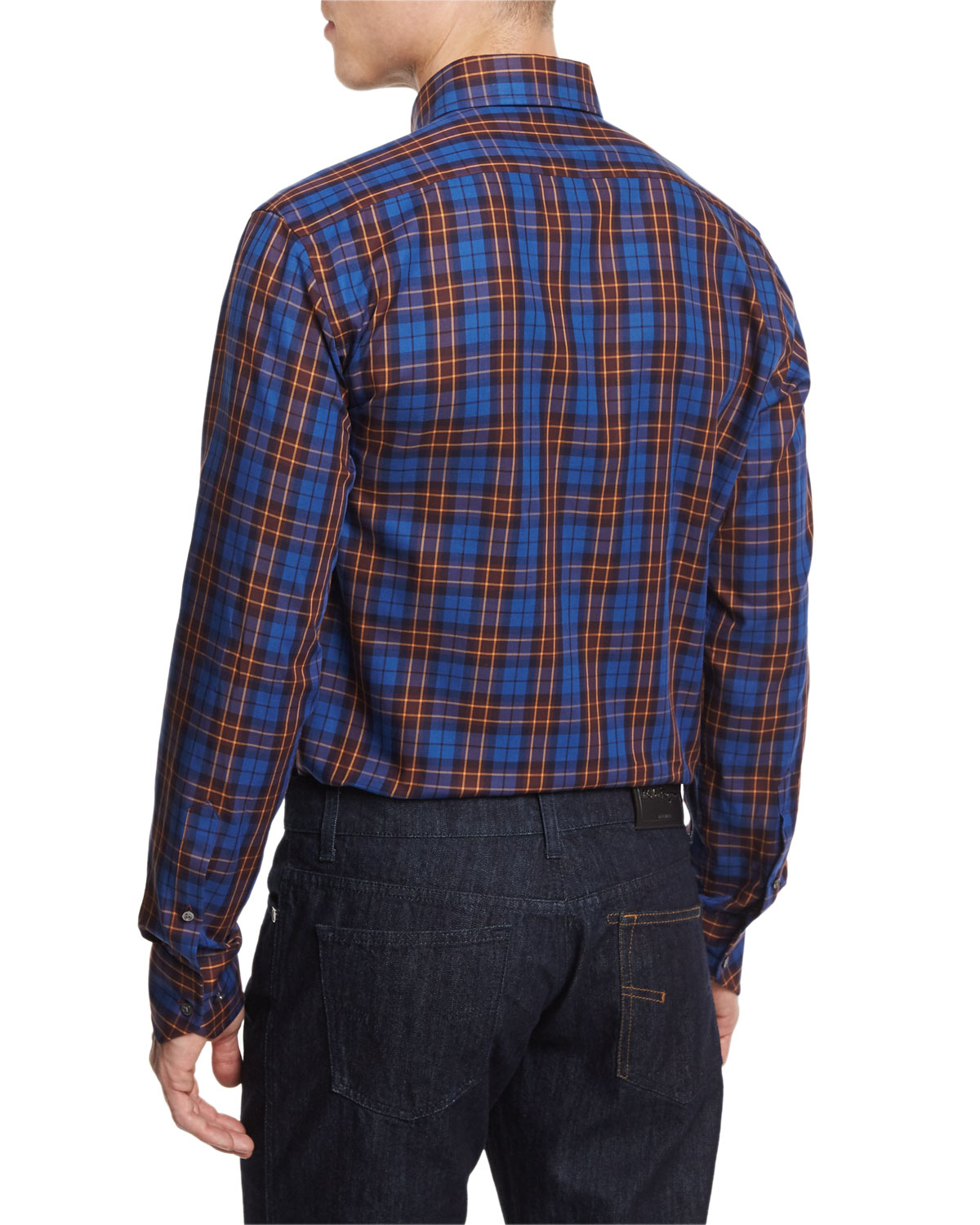 neiman plaid sleeve sport shirt in blue for