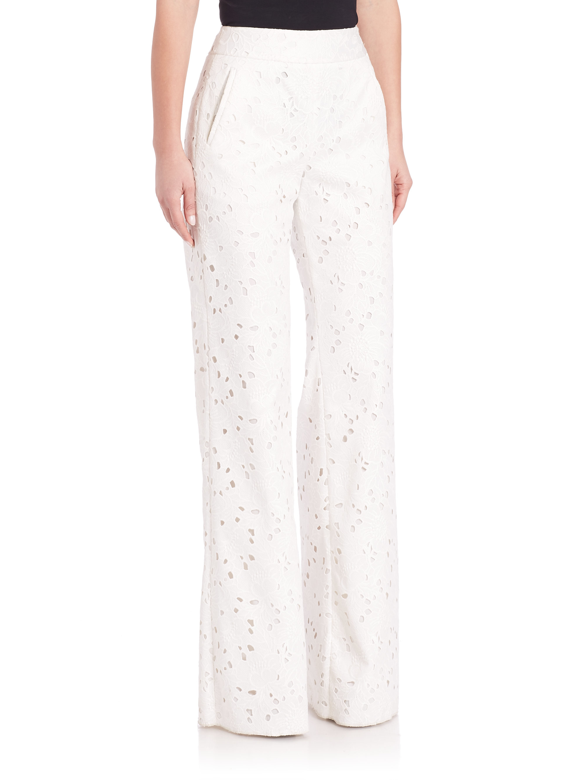 Sachin & babi Shabea Wide-leg Lace Pants in Natural | Lyst