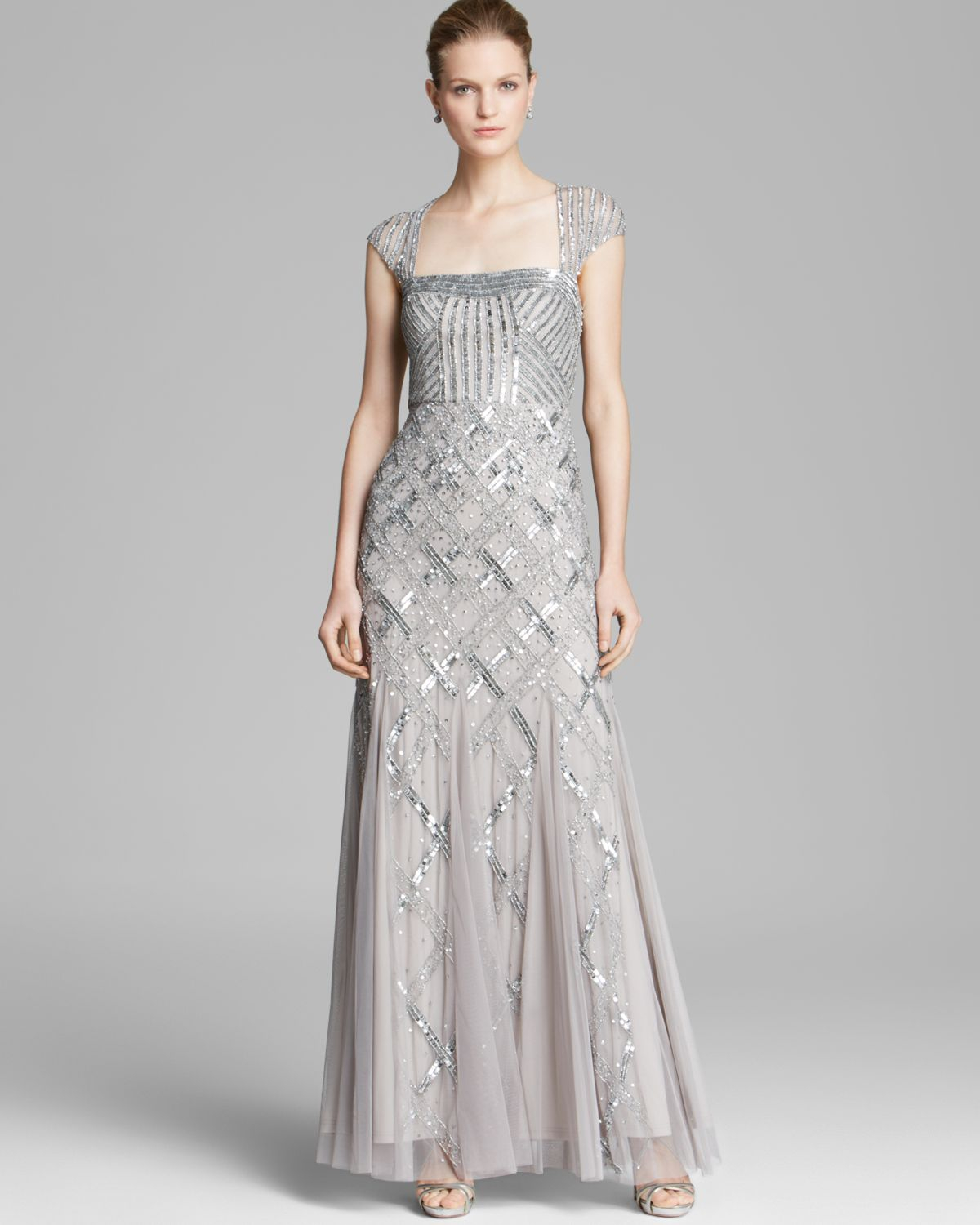 Lyst Adrianna Papell Gown Cap Sleeve Cutout Back In Metallic