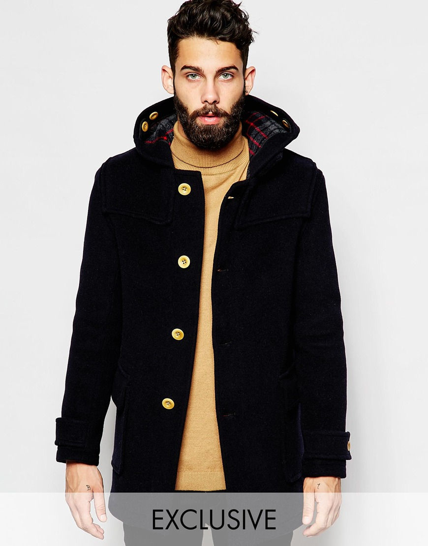 Gloverall Duffle Coat With Contrast Buttons Exclusive in Blue for