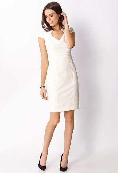 0d90668018da Forever 21 Ladylike Cap Sleeve Dress in White (Ivory)