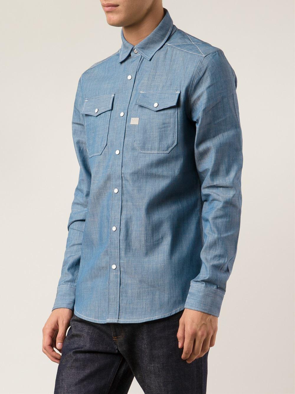 g star raw landoh shirt in blue for men lyst. Black Bedroom Furniture Sets. Home Design Ideas
