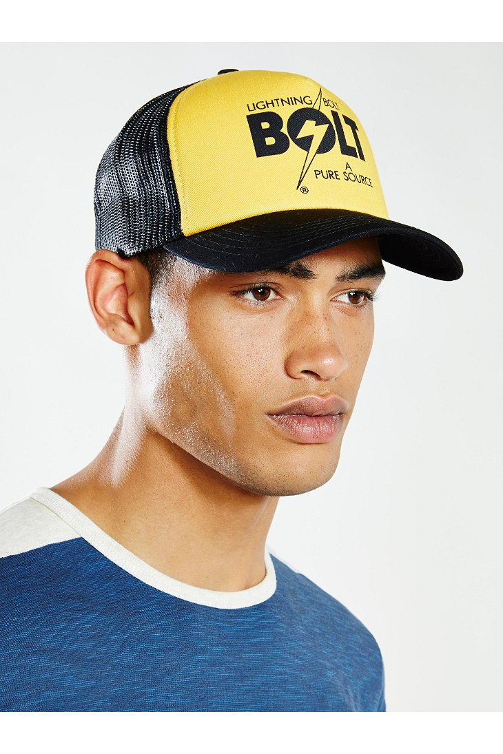 7760629551e Lyst - Lightning Bolt A Pure Source Trucker Hat in Yellow for Men