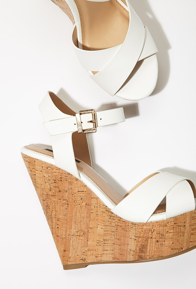 Forever 21 Strappy Cork-sole Platform Wedges in White | Lyst