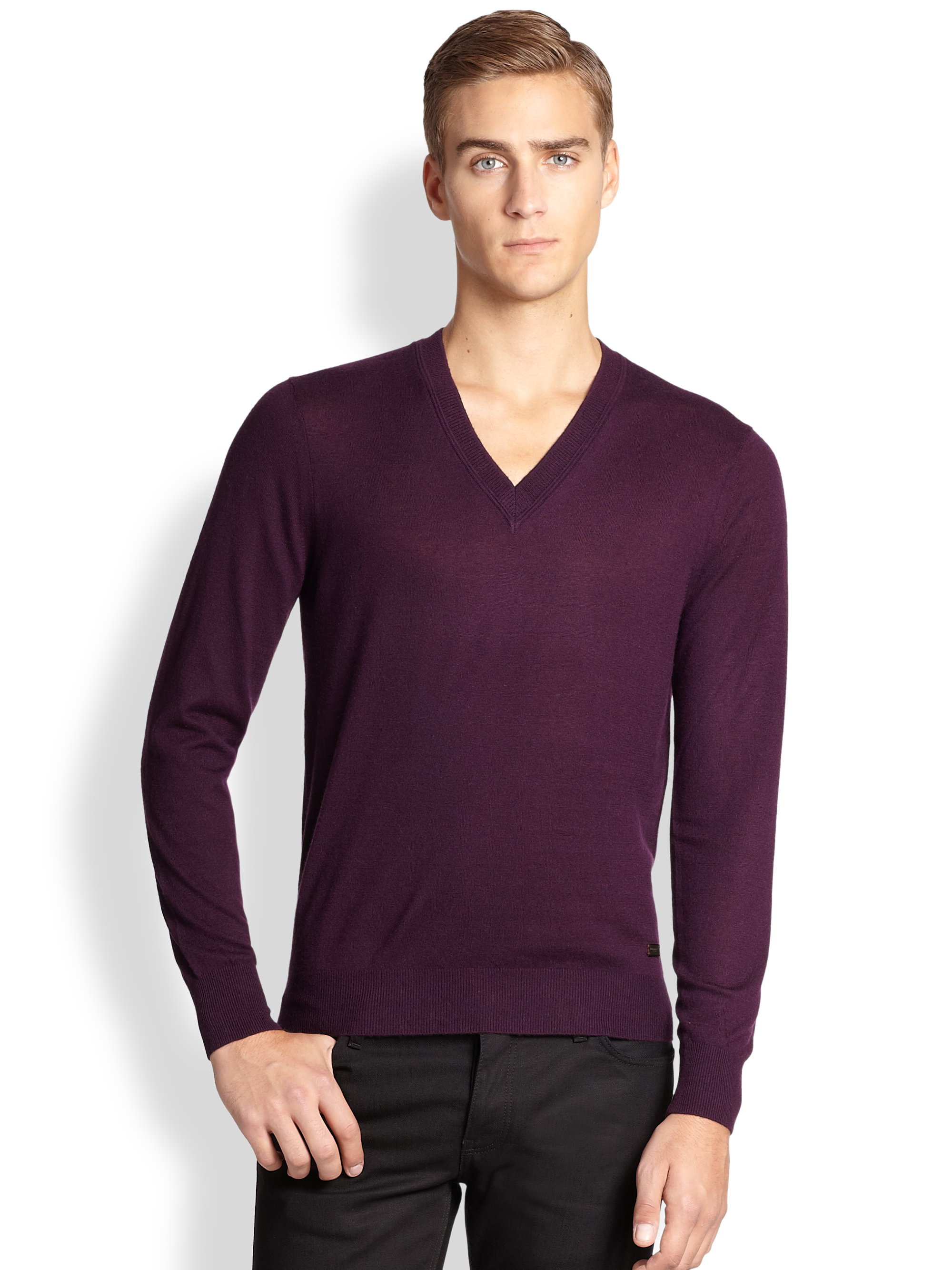Burberry Regal Cashmere V-Neck Sweater in Purple for Men | Lyst