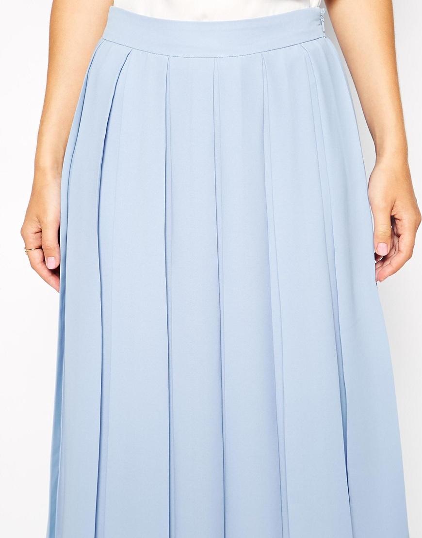Asos Knife Pleat Midi Skirt In Blue Lyst