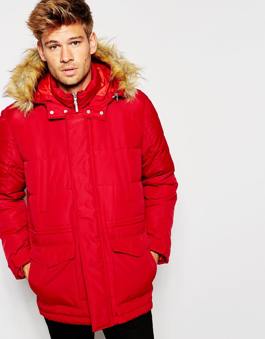 Asos Quilted Fishtail Parka With Faux Fur Hood In Red in Red for ...