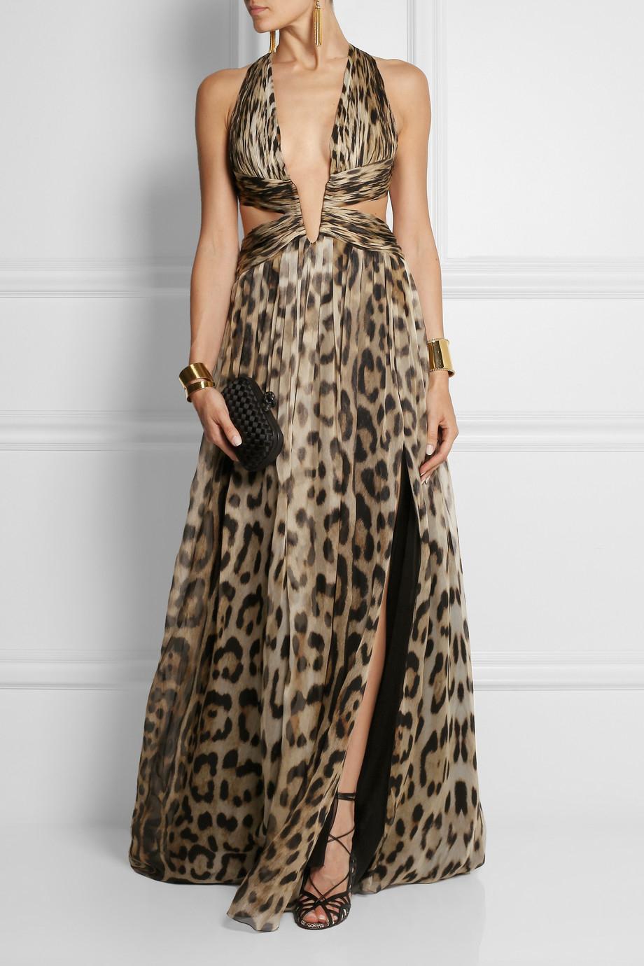 Lyst - Roberto Cavalli Cutout Leopard-Print Silk-Chiffon Gown
