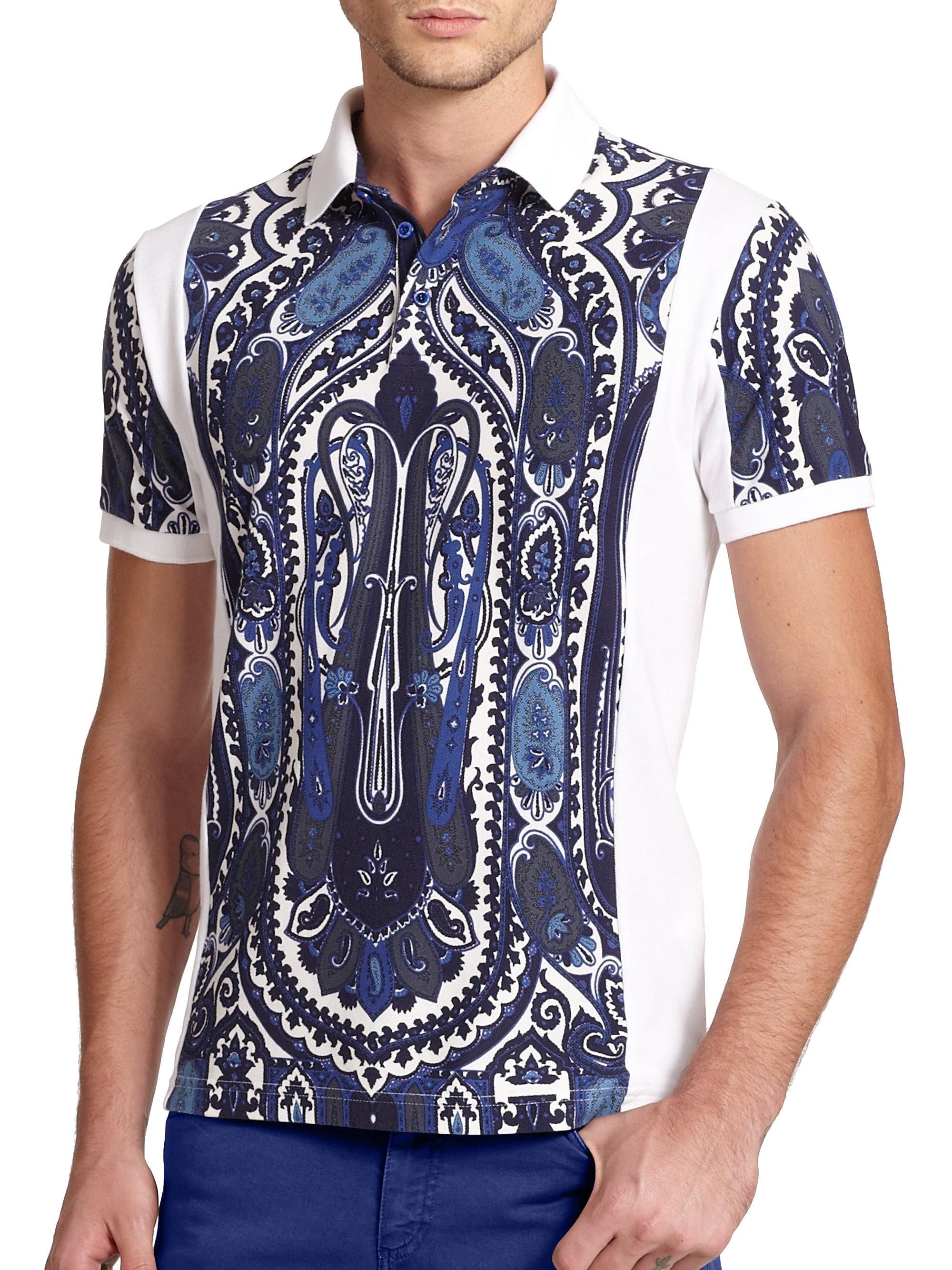 Lyst etro paisley polo shirt for men for Etro men s shirts