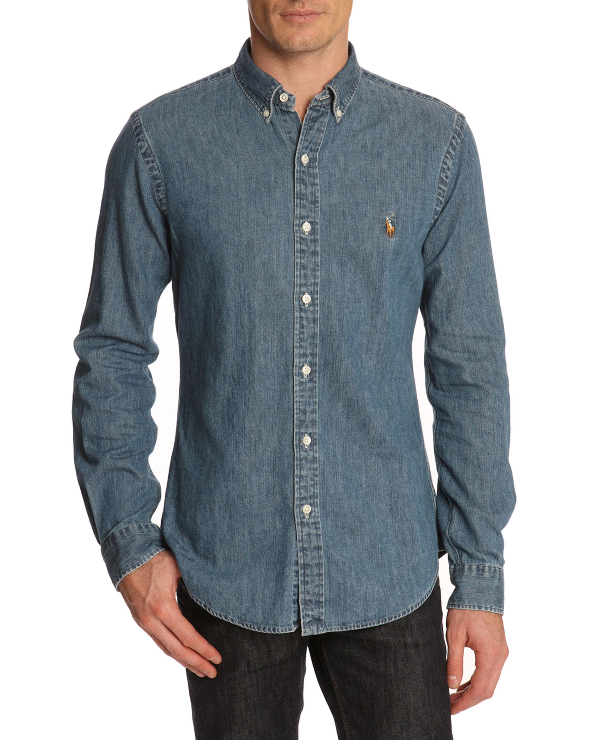 polo ralph lauren slim fit raw denim shirt in blue for men