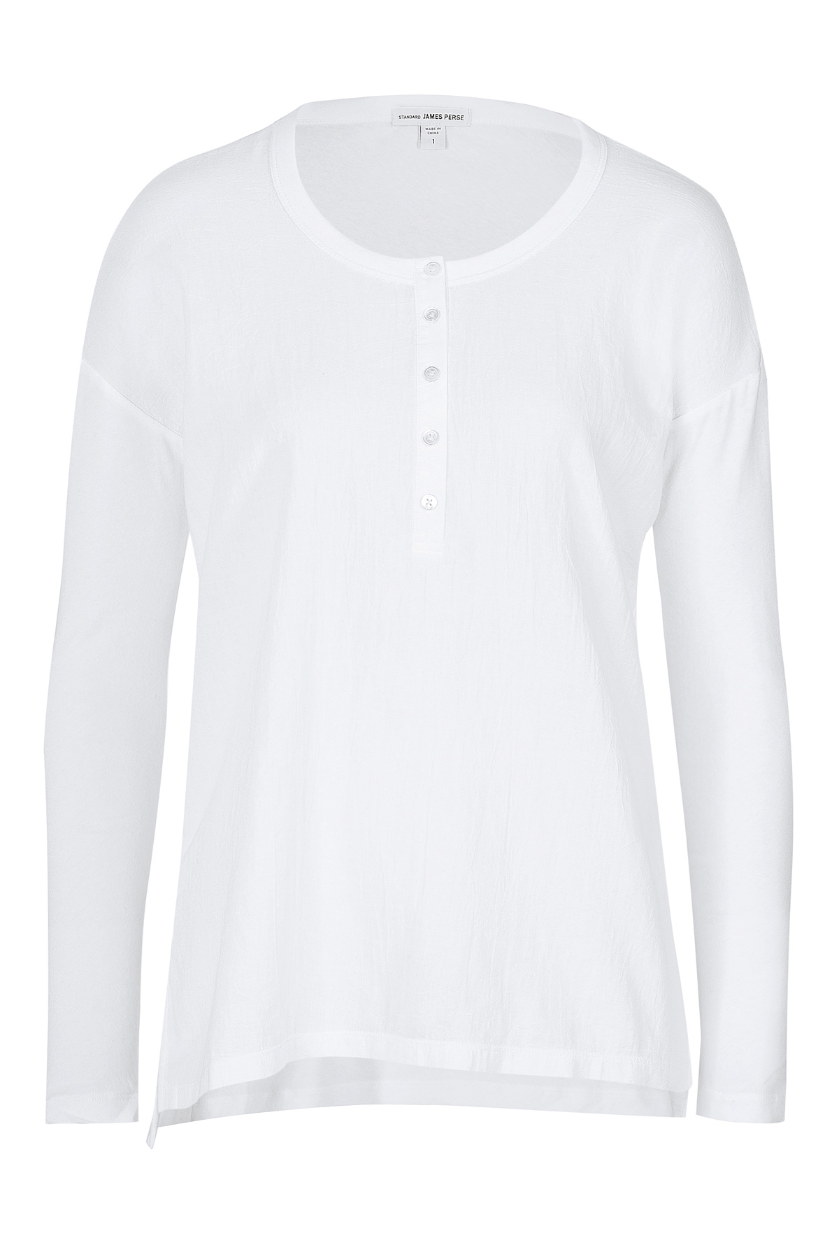 James perse cotton henley white in white lyst for James perse henley shirt