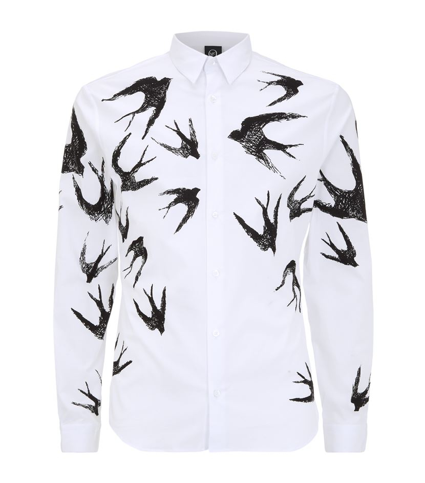 mcq swallow sketch print shirt in black for men lyst. Black Bedroom Furniture Sets. Home Design Ideas