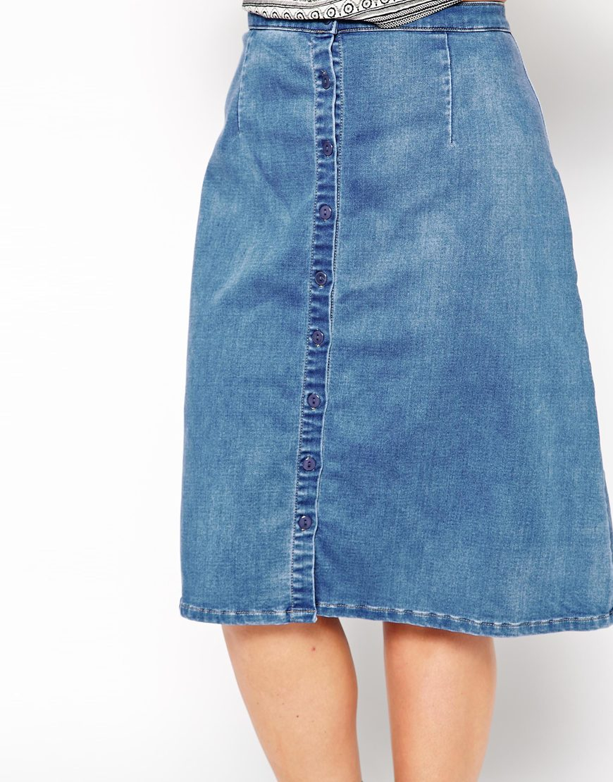 you button through denim skirt in blue lyst