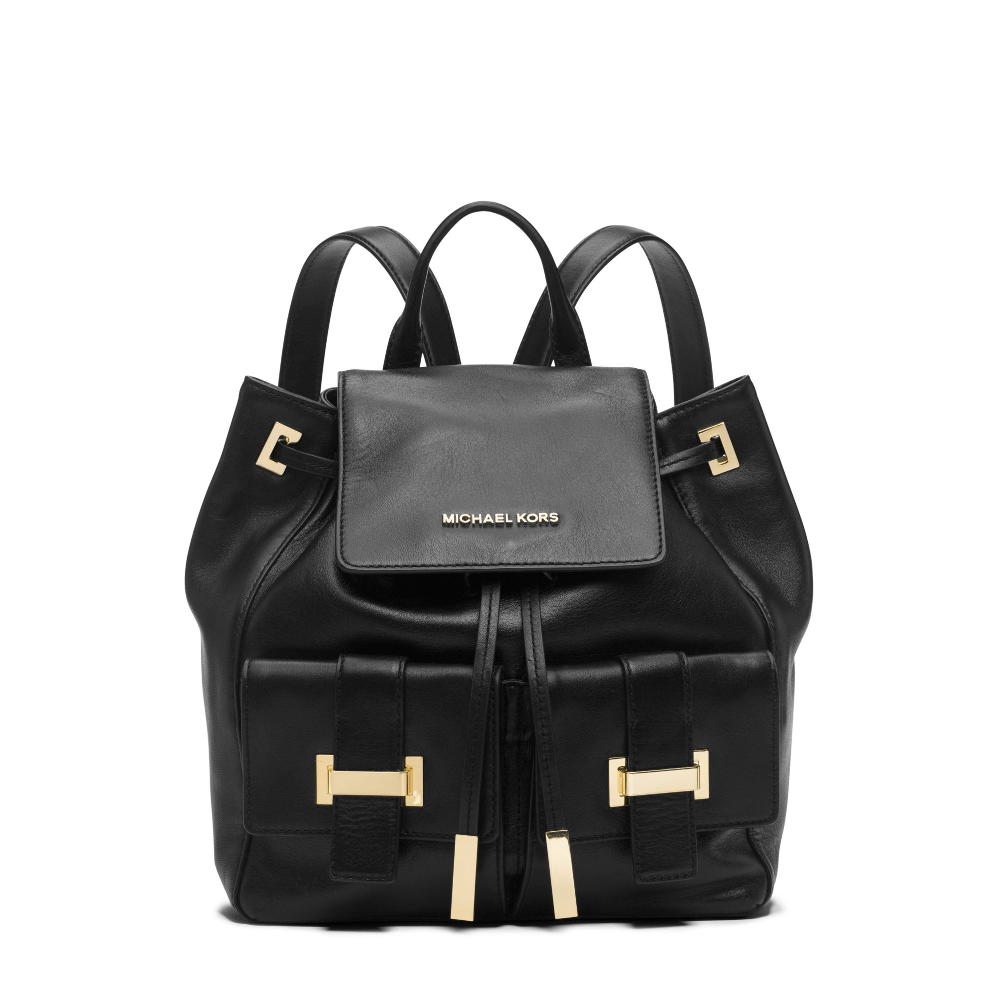 7b1f2a74d202 Lyst - Michael Kors Marly Drawstring Leather Backpack in Black
