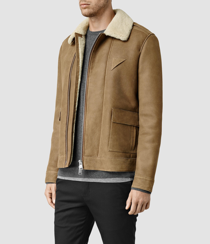 Allsaints Bedford Shearling Jacket in Brown for Men | Lyst